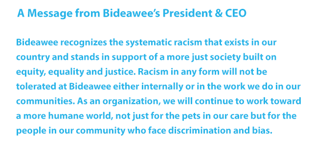 Bideawee recognizes the systematic racism in our country and stands in support of a more just society built on equity, equality, and justice. Racism in any form will not be tolerated at Bideawee. We will continue to work toward a more humane world, not just for the pets, but for the people in our community who face discrimination and bias.